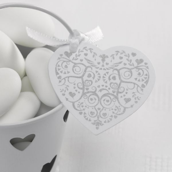 Vintage Romance White & Silver Heart Tags (10)